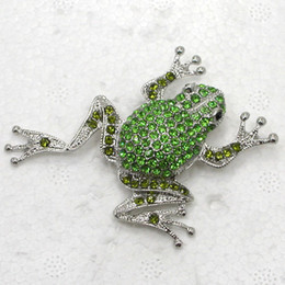 frog brooches NZ - 12pcs lot Wholesale Crystal Rhinestone Frog Brooches Fashion Costume Pin Brooch jewelry gift C239