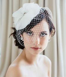 Vintage Veils Headpieces Canada - Exquisite Vintage White Net Flower Beaded Birdcage Veil Headpiece Head Veil Wedding Bridal Accessories