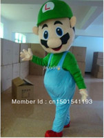 Wholesale Mario Luigi Mascot Costumes - NEW Super Mario bros Luigi Mascot Fancy Party dress Halloween Costume in fashio,very good quality