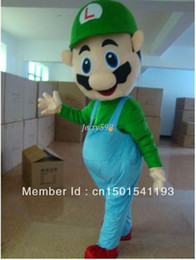 Wholesale Super Mario Costume Make - NEW Super Mario bros Luigi Mascot Fancy Party dress Halloween Costume in fashio,very good quality
