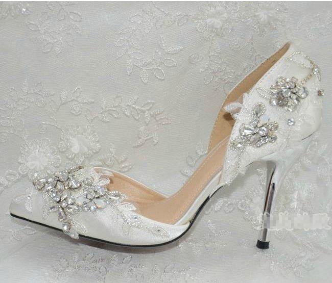 Vestido de novia hecho a mano de la manera formal del alto talón de la boda vestido de novia zapatos de fiesta de aniversario vestido de noche zapatos de la señora de la oficina zapatos