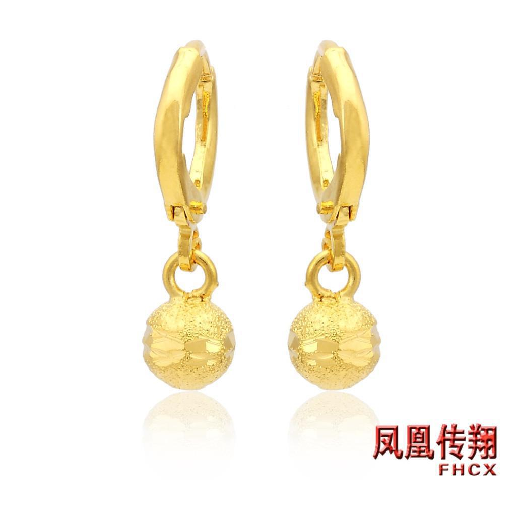 New Alluvial Gold Plated Earrings Jewelry Gold Earrings Bride ...