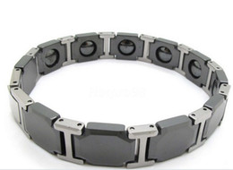 Wholesale Mens Health Bracelets - Bracelet For Male Jewelry, Rock Biker Bands Black Silver Health Care Bracelet Tungsten Steel Watchband Hand Chain Mens