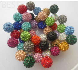 Wholesale Disco Ball Crystal Beads White - Best! free shipping 10mm mixed Micro Pave CZ Disco Ball Crystal Shamballa Bead Bracelet Necklace Beads.MJPW Wholesale! Stock!Mixed Lot!