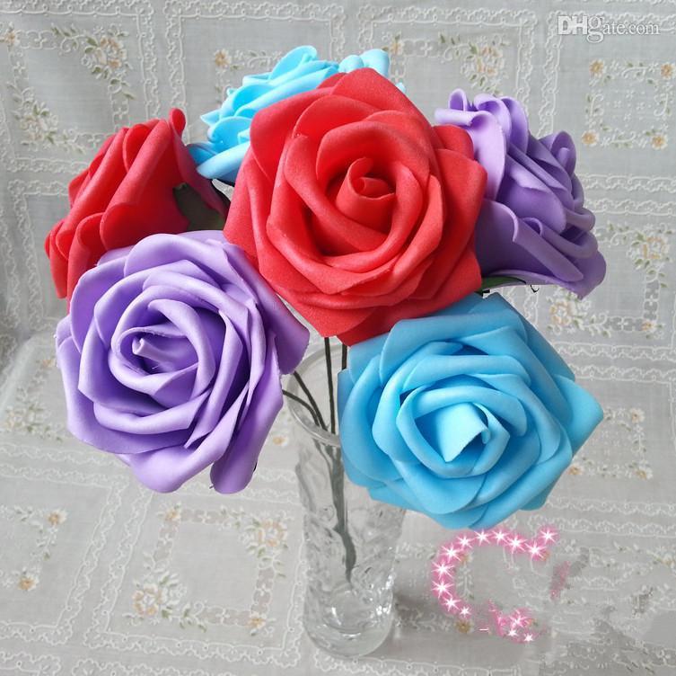 Новые цвета прибытие 100шт диаметр.7 см искусственная пена PE половина Открытая Роза свадьба Рождество свадебный цветок цветы