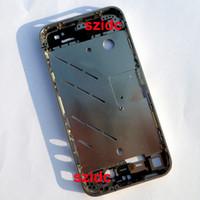 iphone argenté achat en gros de-10 pc / lot Pour iPhone 4 Original Nouveau Argent Lunette Cadre Moyen Châssis Boîtier Plaque Livraison Gratuite