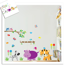 Wholesale Bird Butterfly Wall Decor - Cartoon Animals Room Decor Wall Stickers Butterfly and Birds DIY Wall Stickers for Children