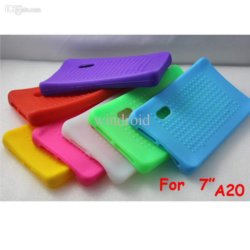 Free DHL 100pcs New Arrivals Colorful Protective Back Silicone Cases Cover For Universal 7 Inch A20 Android Dual Core Tablet Pc MID