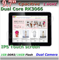 Pas cher RK3066 9.7 IPS écran Tablet PC Dual-Core Dual Camera Android 4.1.1 3G externe avec bluetooth capacitive tablet pc