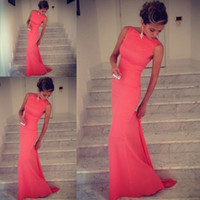 Wholesale Event Gowns Long - 2017 Formfitting Sheath High Neck Formal Long Coral Evening Dress Event Gown prom long vestidos de noiva