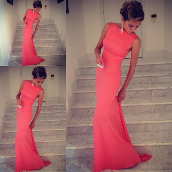 best selling 2017 Formfitting Sheath High Neck Formal Long Coral Evening Dress Event Gown prom long vestidos de noiva
