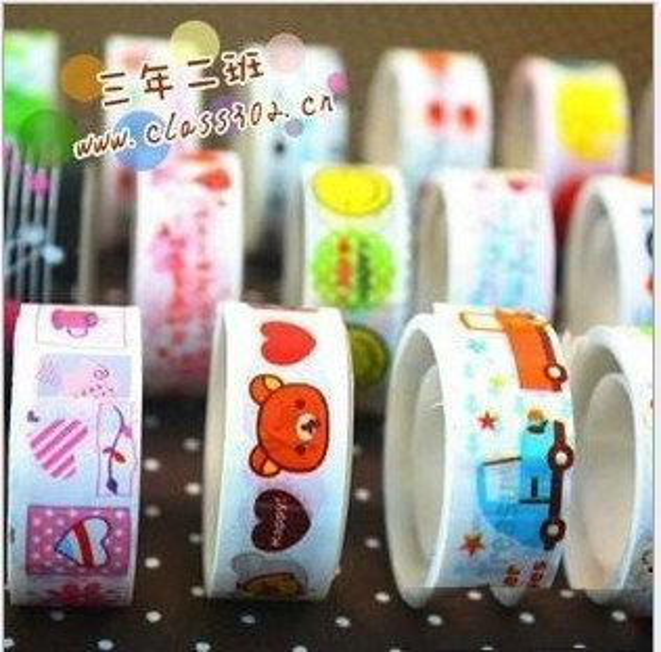 top popular Cute Cartoon color tape korea Stationery Tape Cartoon Tape Adhesive tape Transparent tape Office Adhesive Tapes 2019