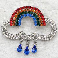 arco-íris venda por atacado-Atacado C797 Multicor Cristal Rhinestone Rainbow swing Pin Broche de Moda presente da jóia