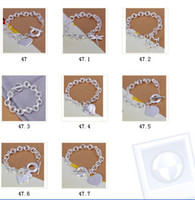 Wholesale Beads 925 Silver Swarovski - 18K Bracelet Jewelry Dazzling swarovski Crystal Bead Cross Pendant 925 Silver Heart Pendant Fashion TIBETAN Style Bracelet Jewelry 10pcs