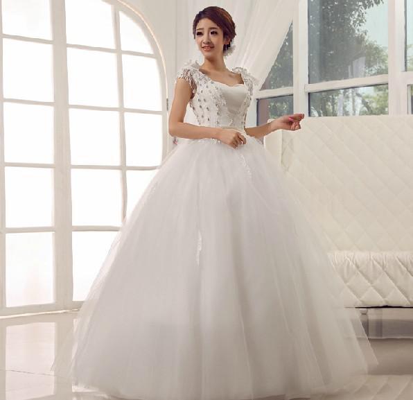 Christmas Promotion!Cheap Satin A-Line tassels wedding dresses Lace flower Shoulder Sweethheart wedding dress,MW009