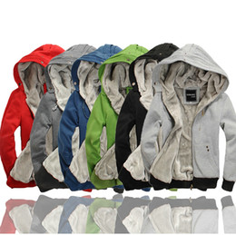 Wholesale Thick Sweatshirt Top Hoodie - NEW Men's Sherpa Lined Thickened Thick Winter Warm Fleece Hoodies Hooded Sweatshirt Tops Blazer Wholesale Free Shipping