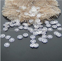 Wholesale Silver Color Beads Spacer - free shipping 7mm (2000pcs)silver color Flower Spacer Beads Caps Jewelry Findings wholesale