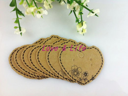 Wholesale Heart Shape Tags - Paper Jewelry Display Packing Card,200pcs lot Heart Shape Brown with print flower Crown Custom Jewelry Earring Packing Cards