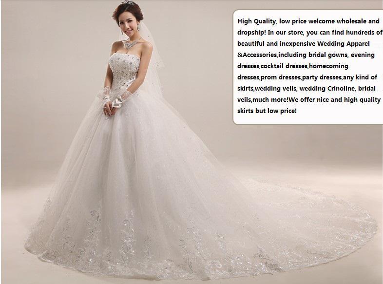 New Luxury Royal Puffy Weiß Applique Perlen Catherdarl Zug Plissee Brautkleider Brautkleider Organza