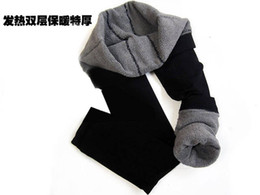 Wholesale Bamboo Carbon Fiber Leggings - Free Shipping With Tracking Number Winter Women Coat Bamboo Carbon Fiber Double Thermal Warm Tights Footless Pants Leggings 10 pcs lot 823