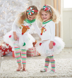 Wholesale Girls Leggings Blouse - Baby Girl Christmas set White Reindeer Sweater Blouses & Rainbow Striped leggings Pants 2 PCS Set Xmas Outfit EMS Fedex Melee 10pc=5set