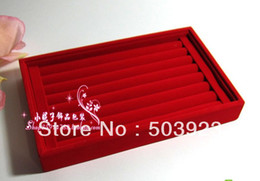 Wholesale Displays Case For Rings - Wholesale High Quality 2pcs lot 7 Rows Red Jewelry Rings Earrings Display Show Case Organizer Tray Box For Free Shipping