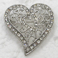 Wholesale CLEAR CRYSTAL RHINESTONE LOVE HEART- SHAPED PIN BRO...