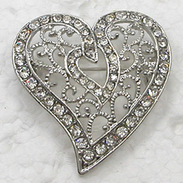 Wholesale Red Heart Rhinestone Brooch - Wholesale CLEAR CRYSTAL RHINESTONE LOVE HEART-SHAPED PIN BROOCH FOR VALENTINE'S DAY C406