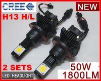 Wholesale Car Reversing Set - 2 Sets H13 H L 50W CREE LED Headlight High Low CXA1512 2COB 1800LM Xenon White 6K 12 24V Car Truck Universal H4 H L 9004 9007 H7 H8 H11 H16