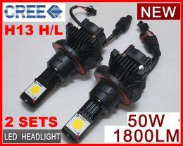 Wholesale Xenon H16 Bulbs - 2 Sets H13 H L 50W CREE LED Headlight High Low CXA1512 2COB 1800LM Xenon White 6K 12 24V Car Truck Universal H4 H L 9004 9007 H7 H8 H11 H16