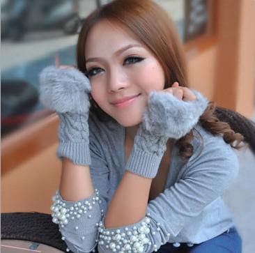Venta al por mayor - guantes de piel de conejo de venta caliente, guantes largos sin dedos de invierno de señora, guantes de medio dedo de muñeca de mano