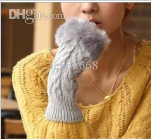 Partihandel - Hot Selling Rabbit Pur Gloves, Lady Winter Long Fingerless Handskar, Handband Halvfingrar Handskar