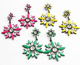brinco de resina de gema Desconto Moda Coréia liga preta cristal claro verde rosa amarelo 3 cores resina gem flor brincos do parafuso prisioneiro