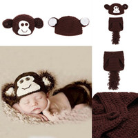 Wholesale Toddler Monkey Clothes - Original Boy Girl Baby Velvet Knitting Photography Props Clothing Adorable Brown Monkey Toddler Infant Beanie Hat Costume Set XDT13*3