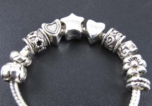Star Flower Spacer Charms Beads Hot sell mix Tibetan Silver Fit European Bracelet 2013011734