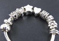 Star Flower Spacer Charms Beads Hot sell mix 100pcs lot Tibetan Silver Fit European Bracelet 2013011734
