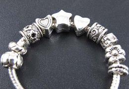 Free 100Pcs Tibetan Silver Charms Big Hole European Star Spacer Beads 12x6mm