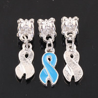 Wholesale European Blue Enamel Rhinestone - European 100pcs Blue Enamel Ribbon Awareness Dangle Charms Pendants Bead Findings