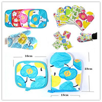 Fabric oven mitten wholesale - Kitchen Cooking Oven Glove Mittens Heat Resistant Pot Pads Holder Burn Proof in1