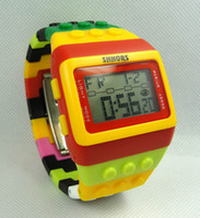 2015 HOt продажа building SHHORS Digital Watch Night Light Водонепроницаемый роскошный Jelly Candy Rainbow Watches youmyelectec1688