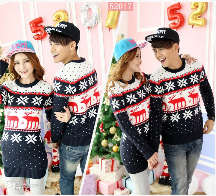 Couples Christmas Sweaters.2019 New Couple Matching Christmas Sweaters With Reindeer For Women Men Snowflake Pattern Above Ship By Dhl 13165 From Fashioninchina 35 67