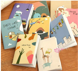 Wholesale Papers Office Organizer - Cute cartoon animal 120K Mini note book Note paper Korea stationery Car line Book diary notebook Office School Supplies