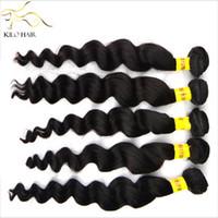 gevşek atkı saç uzantısı toptan satış-Bakire Brezilyalı Remy Saç Uzantıları% 100% İnsan Saç Dokuma Çift Atkı Remi Saç Gevşek Dalga 400g 12