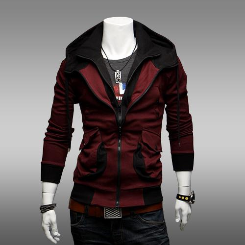 2016 Hot New Winter Hoodies Cardigan moda Slim Men Hoodies con capucha Fleece Zipper doble cuello doble cremallera Outwear regalo de Navidad M43