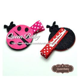 Wholesale Headband Ladybug - Mini Ladybug Felt hair clips Baby Single Prong dot Hair Clip Ladybugs Clip 40pcs lot QueenBaby Trial Order