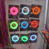 Wholesale Wire Skirt - 3M EL Wire Neon Strip Skirt Light White GREEN YELLOW RED BLUE PINK PURPLE Wire Rope Tube Car Dance Party cold wire lights