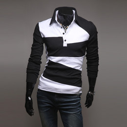 $enCountryForm.capitalKeyWord NZ - British Hot New Sport POLO T-Shirts Fashion Slim Men Stripe T-Shirts Long Sleeve Korean Casual Turn-down collar T-Shirts Pullover M45
