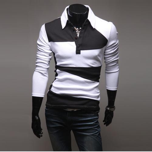 British Hot New Sport POLO Camisetas Moda Slim Men Stripe Camisetas Manga Larga Coreana Casual Turn-down cuello Camisetas Pullover M45