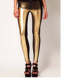 Wholesale Golden Knit - Free shipping High elastic golden PU Leather Black Knit stitching hit color Leggings 6 colores
