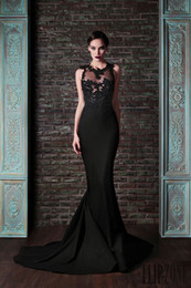 Barato Vestidos De Noite Longas Sexy-Sexy 2015 Mermaid Black Evening Dresses Lace Long Vestidos de baile Crew Sweep Train Applique Stretch Satin Prom Dress